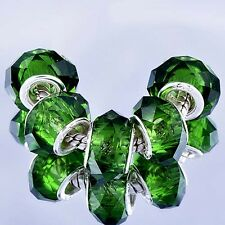 5pcs Green Crystal murano glass beads Silver Charms fit European Bracelet