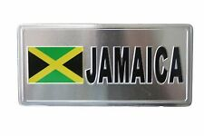 JAMAICA COUNTRY FLAG-SILVER LICENSED STICKER FLAG PLATE..SIZE: 6 X 3 INCH