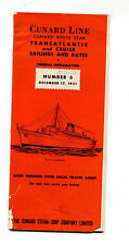 Vintage Cruise Ship Brochure CUNARD WHITE STAR LINE  Sailings & Rates Dec 1951