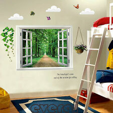Large Green Forest 3D Window Wall Sticker Removable Vinyl Decal Home Decor Mural