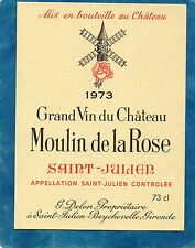 SAINT JULIEN ETIQUETTE CHATEAU MOULIN DE LA ROSE 1973 73 CL  RARE        §01/06§
