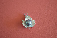925 Sterling Silver Fall Leaf with Fresh Water Pearl Pendant - Tahiti (Dyed)