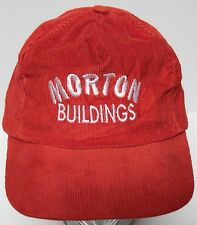 Vtg 1980s MORTON BUILDINGS Construction Red Corduroy Advertising Snapback Hat