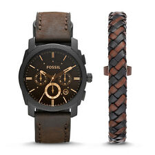 Fossil Men's Machine Chronograph Dark Brown Watch & Bracelet Box Set FS5251Set