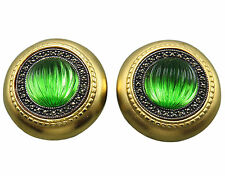 Judith Jack Clip Earrings Green Crystal Sterling Silver Marcasite Gold Wash 138g