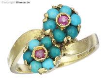 """Ring """"Rubine und Türkise"""" 750er Gelbgold ca.1955"""