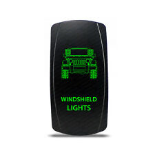 Rocker Switch Jeep JK Windshield Lights Symbol - Green LED