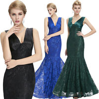 Mermaid Formal Lace Evening Ball Gown Party Prom Bridesmaid Dresses Size UK 4-18