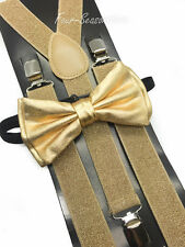 Metallic Gold Bow Tie & Matching Suspender Tuxedo Wedding Accessories New