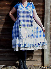 Pinafore Prairie Rustic Boho Peasant Apron Dress Jumper Lace Upcycled S-2X