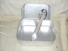 NATO ARMY STYLE TWO 2 PIECE ALLOY MESS TIN PANS & KFS CUTLERY CAMPING COOK SET