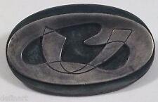 Vintage Continental 800 Silver Abstract Two Layers Oval Pin Brooch