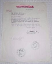 1957 Ethiopian Air Lines Letter to TWA Structural Engineer Lloyd L Mielke