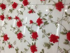 mesh/flowers/FLORAL EMBROIDERY LACE FABRIC/1yard*1.54yard/organza/3d red