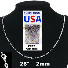 "925 Sterling Silver- 2mm Italy Figaro 26"" Chain Necklace + FREE Gift Bag"