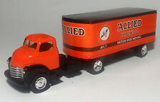 CUSTOM BUILT 1950 CHEVY ALLIED VAN LINES TRACTOR TRAILER 1/43 O scale On30 CAB