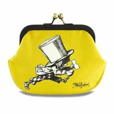 Alice in Wonderland Mad Hatter Tea Party Coin Purse - Cute Retro Yellow Canvas