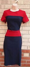 GODDESS NAVY BLUE BURGUNDY STRIPE BLOCK BANDAGE BODYCON PENCIL TUBE DRESS 12 M