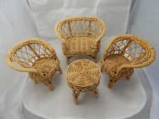 Natural Wicker Miniature Outdoor Furniture Set: Love Seat/2 Chairs/Table