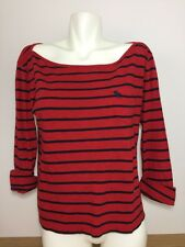 Abercrombie & Fitch 3/4 Long Sleeve Shirt Red Black Striped Scoop Neck Sz Large