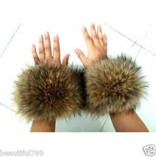 Hot fur cuffs Genuine raccoon fur hand wrist warmer natural brown one pair gift
