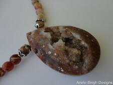 NATURAL AUSTRALIAN BRANDY OPAL PENDANT BEADS STERLING SILVER NECKLACE BY ASINGH