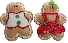Gisela Graham Fabric Gingerbread Boy & Girl Christmas Tree Decorations (Pair)