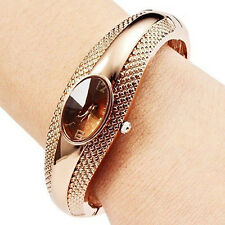 Womens Retro Bronze Bracelet Bangle Crystal Dial Quartz Analog Wrist Watch BICU