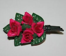 Pink & Green Bouquet of Rose Roses Flower Floral Plastic Pin Brooch Jewelry