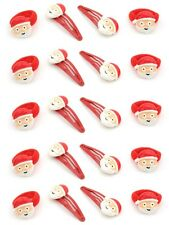 Zest 20 Hair Accessories with Santa Face 10 Ponios & 10 Clips Red