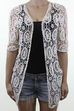 NEW LOOK ivory cream crochet lace see through cardigan size Small S 10 eu 38