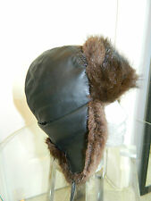 NEW BROWN MUSKRAT FUR MEN HAT RUSSIAN CHAPKA TRAPPER LEATHER TOP Sz. 23'' M 7