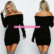 USA Women Off Shoulder Knitted Body con Long Sleeve Sexy Party  Sweater Dress