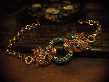 Vintage Leopard Heads Bracelet with Topaz & Emerald Green Crystals