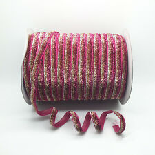 """NEW DIY 5 Yards 3/8"""" 10mm Sparkle Glitter Velvet Ribbons Headband Clips Bow #v12"""