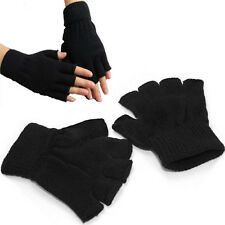 Unisex Black Stretch Knitted Gloves Men Women Fingerless Winter Warmer Mittens