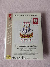 MOUSELOFT STITCHLETS CROSS STITCH KIT ~ HAPPY BIRTHDAY CAKE ~ CARD & ENVELOPE