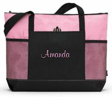 Personalized Tote Bag Book Shopper Bridesmaid Gift Teacher Nurse Purse Pink