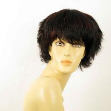 perruque femme 100% cheveux naturel courte méchée noir/rouge AUDE 1b410