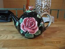 Fitz & Floyd black rose teapot, 1987 48 oz