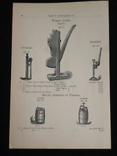 Vntg Wagon Jack Coopers Barrel Header Press 1894 W Bingham Catalog Page Ad WB33
