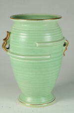 Art deco Crown Devon ribbed pottery vase with gold trim
