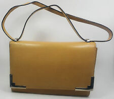 ESCADA Vintage Purse Handbag Baguette Kelley Beige Leather Silver Hapachico