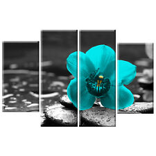 Black White Teal Orchid Floral Flower Canvas Wall Art Picture 4 Panel Gift