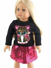 Glitter Leopard Sequin Skirt Set Doll Clothes Made For 18 in American Girl Doll