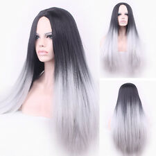 Ladies Straight Synthetic Wig Ombre Tone Color Black Mixed Light Grey Fiber Wigs