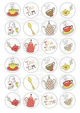 24 Tea Teapot  Wafer / Rice Paper Cupcake Topper Edible Fairy Cake Bun Toppers
