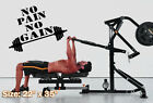 No pain no gain Decal Sticker motivational wall quote dumbbell workout crossfit