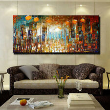Hand-painted Modern Wall Decor Art Abstract Oil Painting Canvas,City (No Frame)