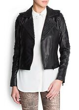 MANGO BLACK STUDDED LEATHER BIKER JACKET SIZE L LARGE